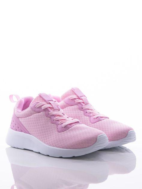 Różowe buty sportowe na sprężystej podeszwie z ciemniejszą wstawką na pięcie                              zdj.                              3