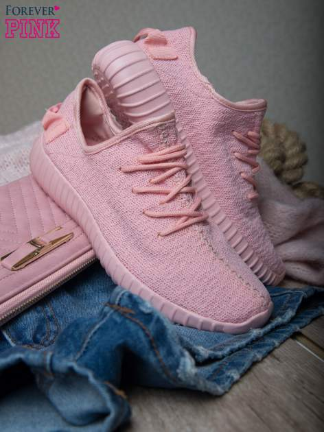 Różowe buty sportowe z tkaniny textile Be Active z uchwytem z tyłu                                  zdj.                                  1