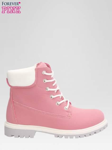 Różowe buty trekkingowe damskie traperki