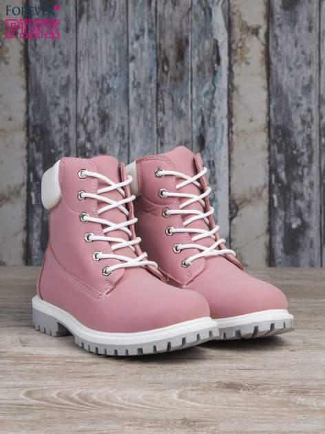Różowe buty trekkingowe damskie traperki ocieplane                                  zdj.                                  3
