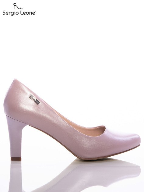 Różowe czółenka Sergio Leone z perłowym połyskiem                              zdj.                              1