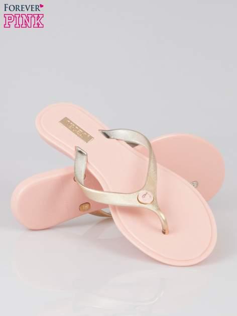 Różowe japonki silicone Summertime ze złotym paskiem                                  zdj.                                  4