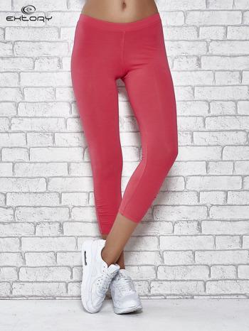 Różowe legginsy sportowe z aplikacją z dżetów na nogawkach                                  zdj.                                  1