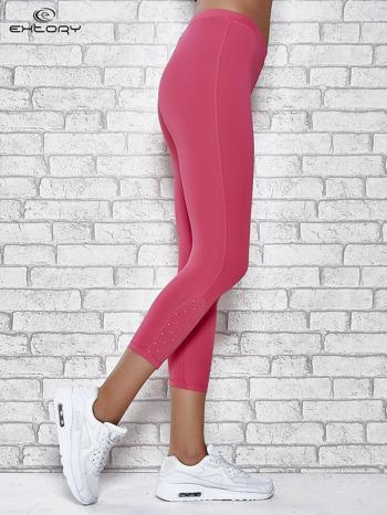 Różowe legginsy sportowe z dżetami na dole nogawki                                  zdj.                                  3