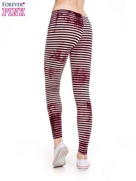 Różowe legginsy w paski z feketem tie-dye                                  zdj.                                  4