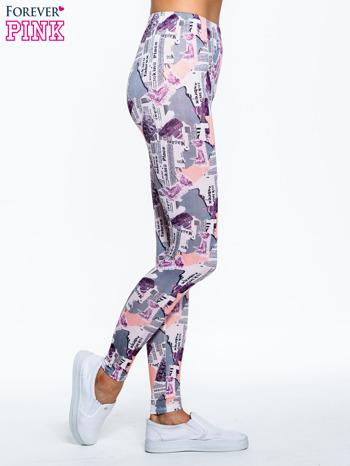 Różowe legginsy z motywem newspaper print                                  zdj.                                  3