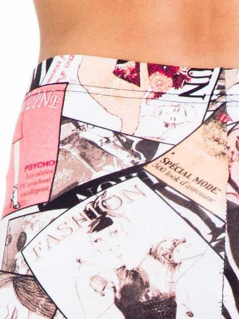 Różowe legginsy z nadrukiem magazines print                                  zdj.                                  8