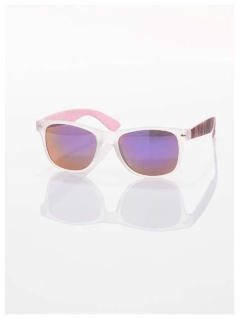 Różowe  lustrzanki z filtrami UV okulary z klasyczną oprawką WAYFARER NERD z efektem mlecznej szyby -odporne na wyginania                                  zdj.                                  2