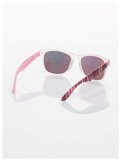 Różowe  lustrzanki z filtrami UV okulary z klasyczną oprawką WAYFARER NERD z efektem mlecznej szyby -odporne na wyginania                                  zdj.                                  3