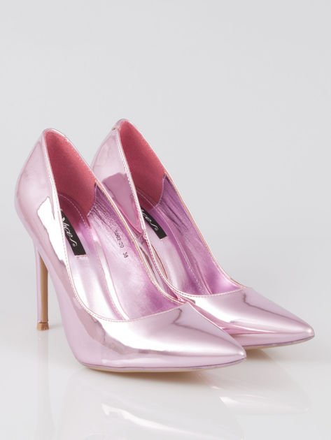 Różowe metaliczne szpilki w szpic Pinky                                  zdj.                                  2