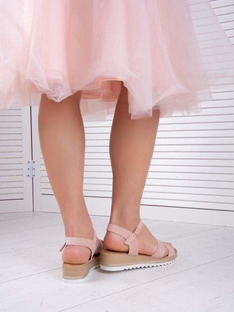 Różowe sandały BELLO STAR na podwyższeniu z paskami na krzyż                              zdj.                              6