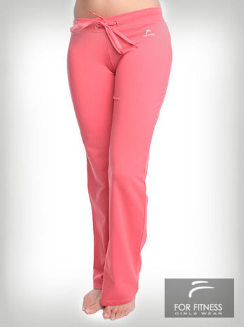 Różowe spodnie dresowe z szeroką nogawką FOR FITNESS                                  zdj.                                  1
