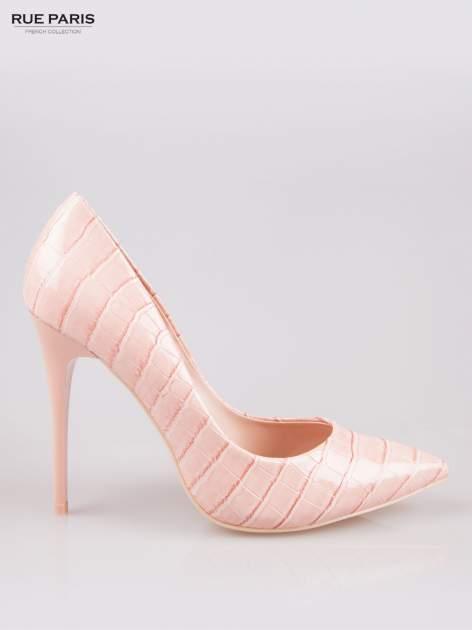 Różowe szpilki z lakierowanej skóry krokodyla                                  zdj.                                  1