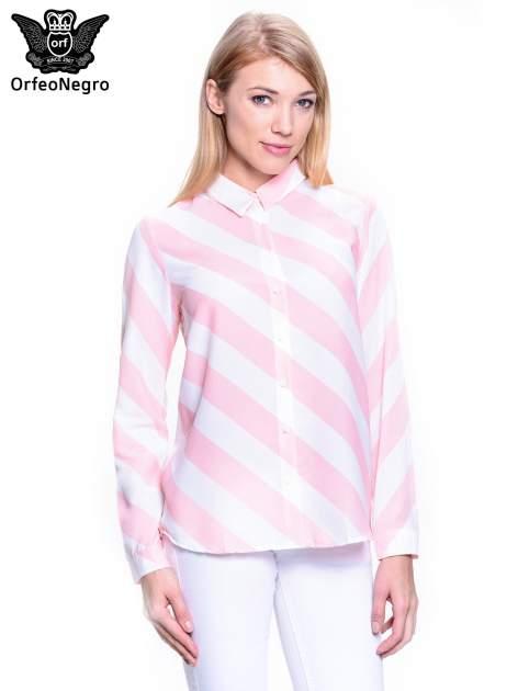 Różowo-biała koszula w skośne pasy                                  zdj.                                  1