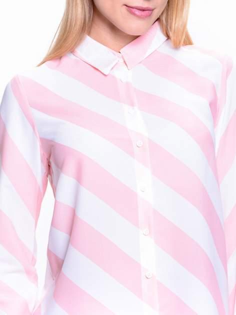 Różowo-biała koszula w skośne pasy                                  zdj.                                  5