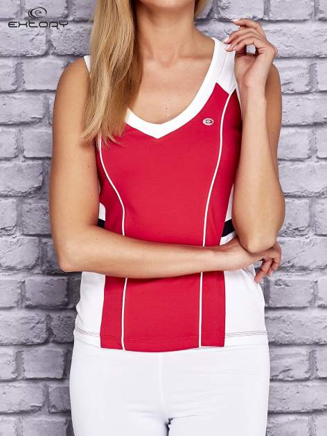 Różowo-biały damski top sportowy z nadrukiem na plecach
