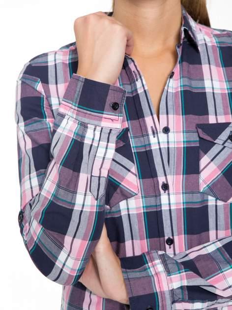Różowo-granatowa koszula w kratę z kieszeniami                                  zdj.                                  9
