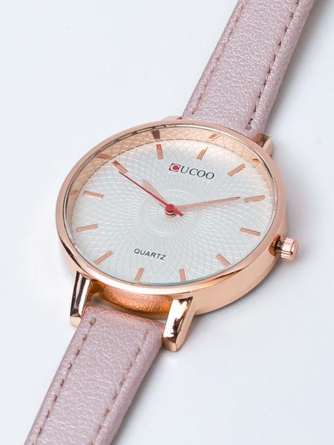 Różowo-perłowy zegarek damski