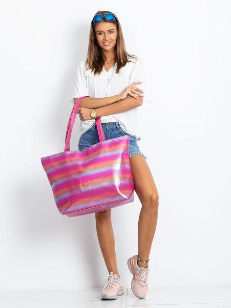 Różowo-pomarańczowa duża torba damska                              zdj.                              4