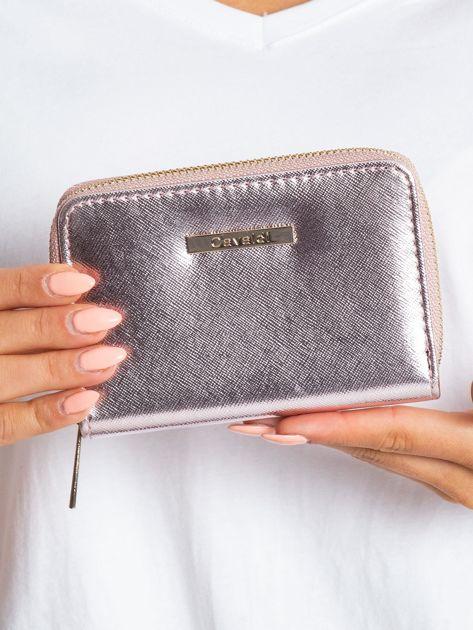 Różowo-srebrny portfel na suwak                              zdj.                              1