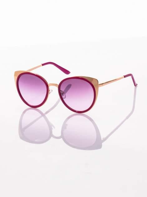 """Różowo-złote okulary przeciwsłoneczne """"KOCIE OCZY""""                                   zdj.                                  1"""