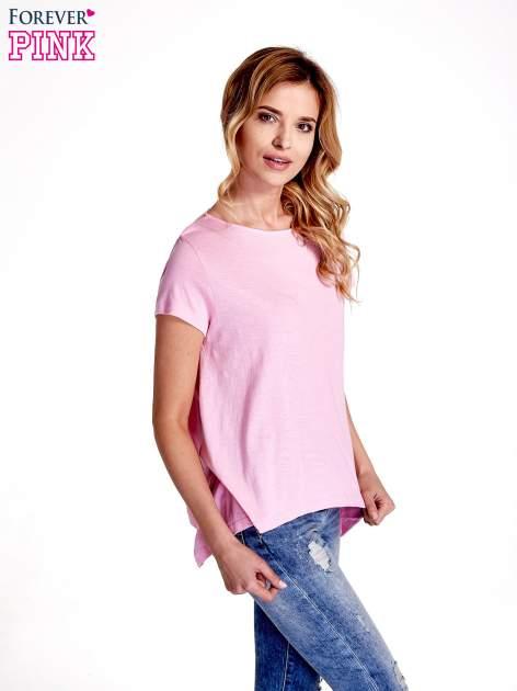 Różowy asymetryczny t-shirt                                  zdj.                                  3