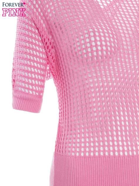 Różowy ażurowy sweter oversize                                  zdj.                                  7