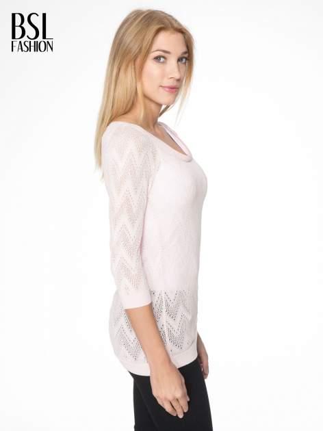Różowy ażurowy sweterek z rękawem 3/4                                  zdj.                                  2