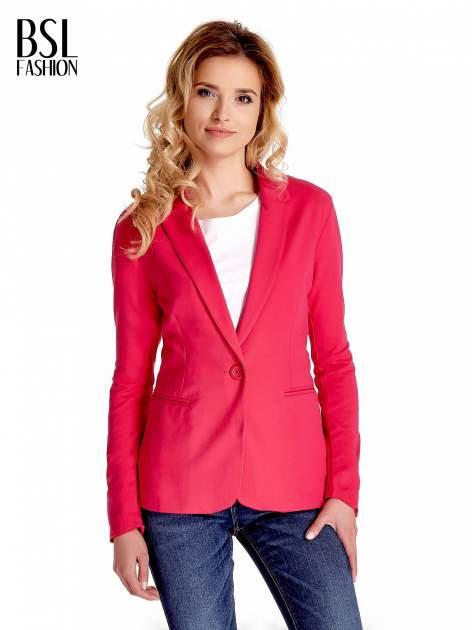 Różowy bawełniany żakiet damski na jeden guzik