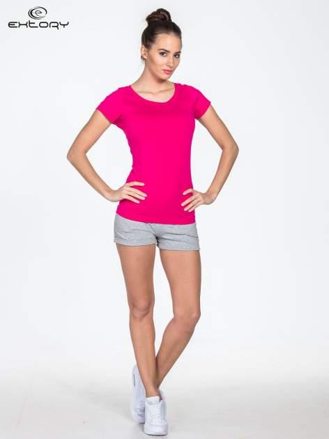 Różowy damski t-shirt sportowy basic PLUS SIZE                                  zdj.                                  4