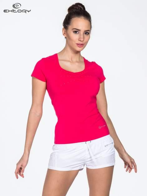 Różowy damski t-shirt sportowy z dżetami                                  zdj.                                  1