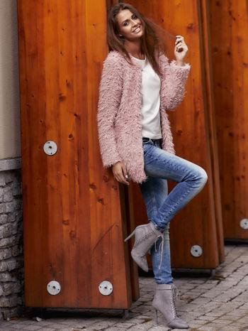 Różowy futrzany sweter kurtka na suwak                                  zdj.                                  12