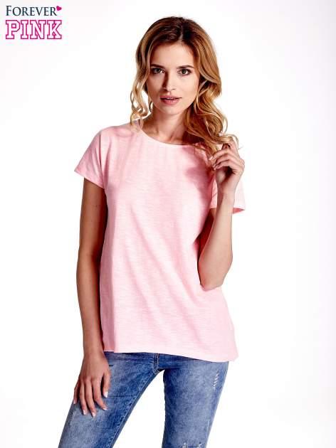 Różowy jednolity t-shirt                                  zdj.                                  1