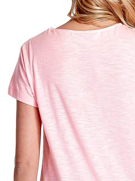 Różowy jednolity t-shirt                                  zdj.                                  6