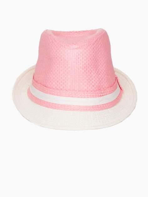 Różowy kapelusz fedora z białym wykończeniem                                  zdj.                                  4