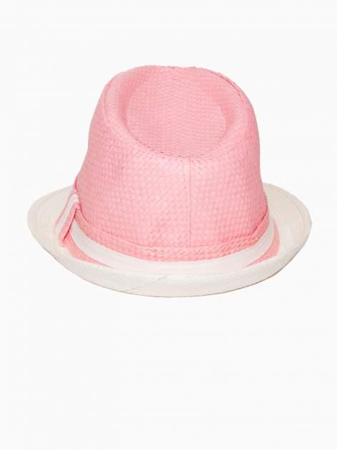 Różowy kapelusz fedora z białym wykończeniem                                  zdj.                                  5