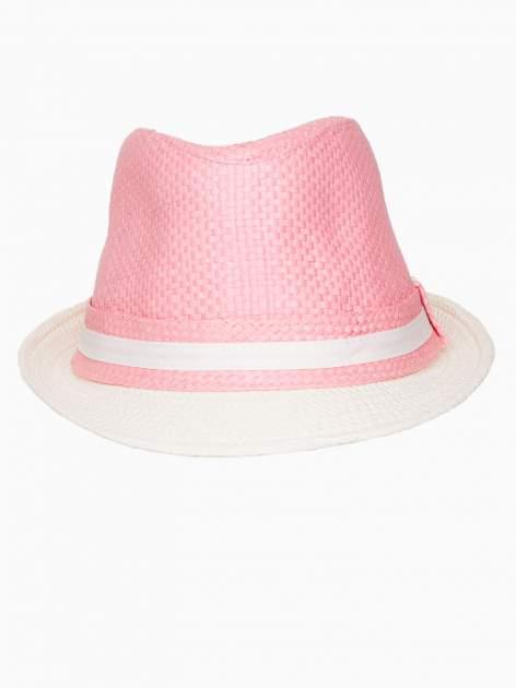 Różowy kapelusz fedora z białym wykończeniem                                  zdj.                                  6