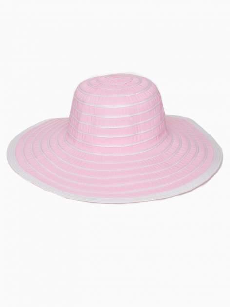 Różowy kapelusz słomiany z dużym rondem i drobnymi paskami                                  zdj.                                  2
