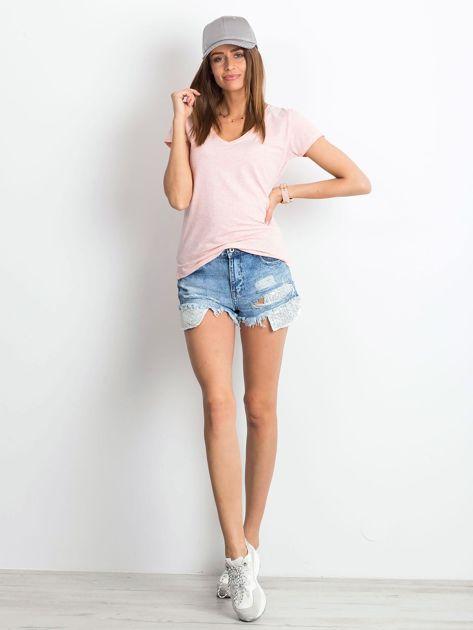 Różowy melanżowy t-shirt Square                              zdj.                              4