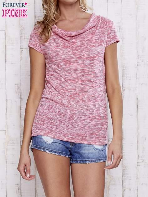 Różowy melanżowy t-shirt z lejącym dekoltem                                  zdj.                                  1