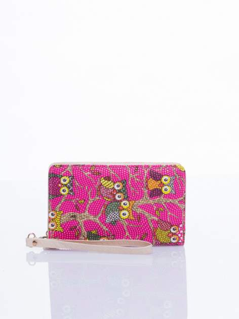 Różowy mini portfel w sówki