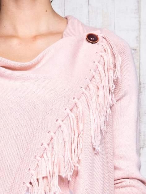 Różowy otwarty sweter z podwijanymi rękawami                                  zdj.                                  6