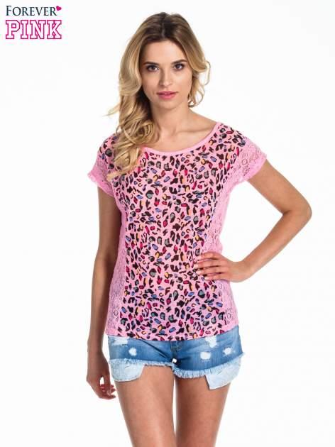 Różowy panterkowy t-shirt z koronką