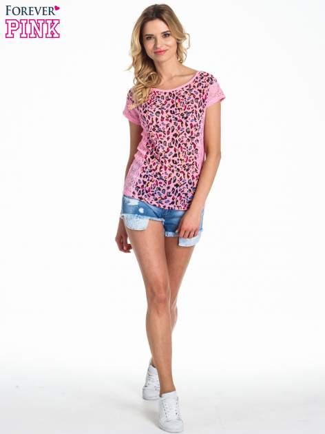 Różowy panterkowy t-shirt z koronką                                   zdj.                                  2