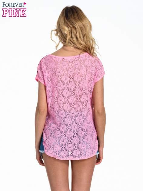 Różowy panterkowy t-shirt z koronkowym tyłem                                  zdj.                                  4