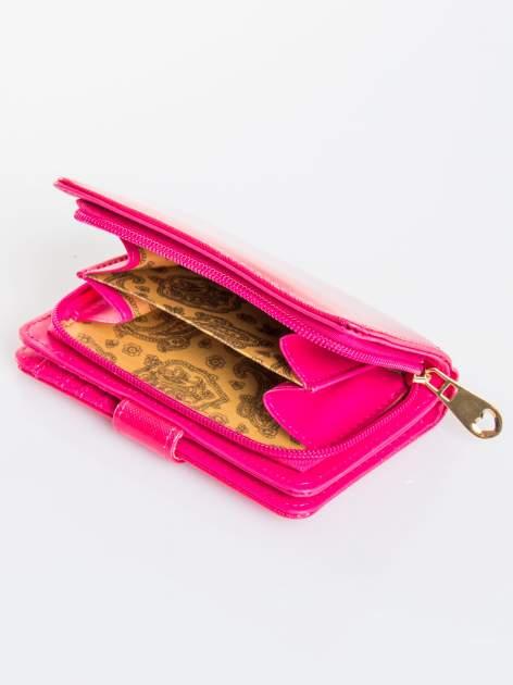 Różowy portfel efekt skóry saffiano                                  zdj.                                  4