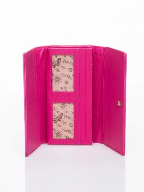 Różowy portfel z ażurowaniem i plecionką                                  zdj.                                  4