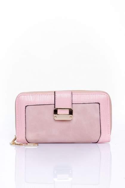 Różowy portfel ze złotą klamerką