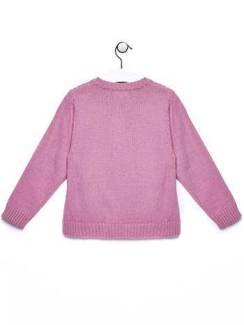 Różowy sweter dla dziewczynki z motywem serduszek