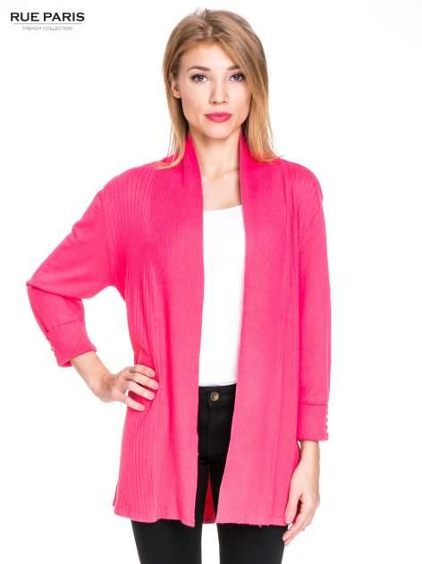 Różowy sweter kardigan z podwijanym rękawami z guziczkami                                  zdj.                                  1